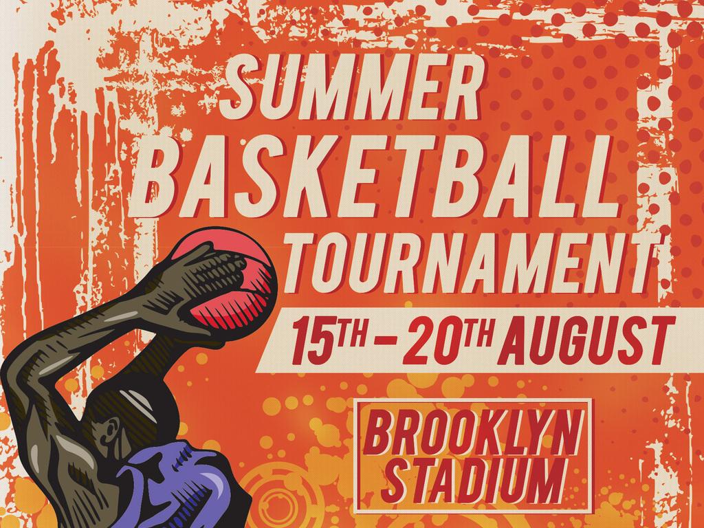 怀旧文艺复古手绘校园篮球比赛宣传海报模板图片设计图片
