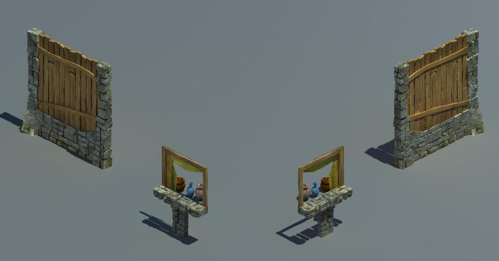 木板墙围墙砖墙窗模型三维组件素材游戏场景窗台墙形