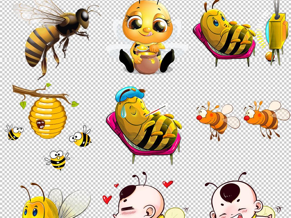 卡通手绘小蜜蜂png免扣设计图片