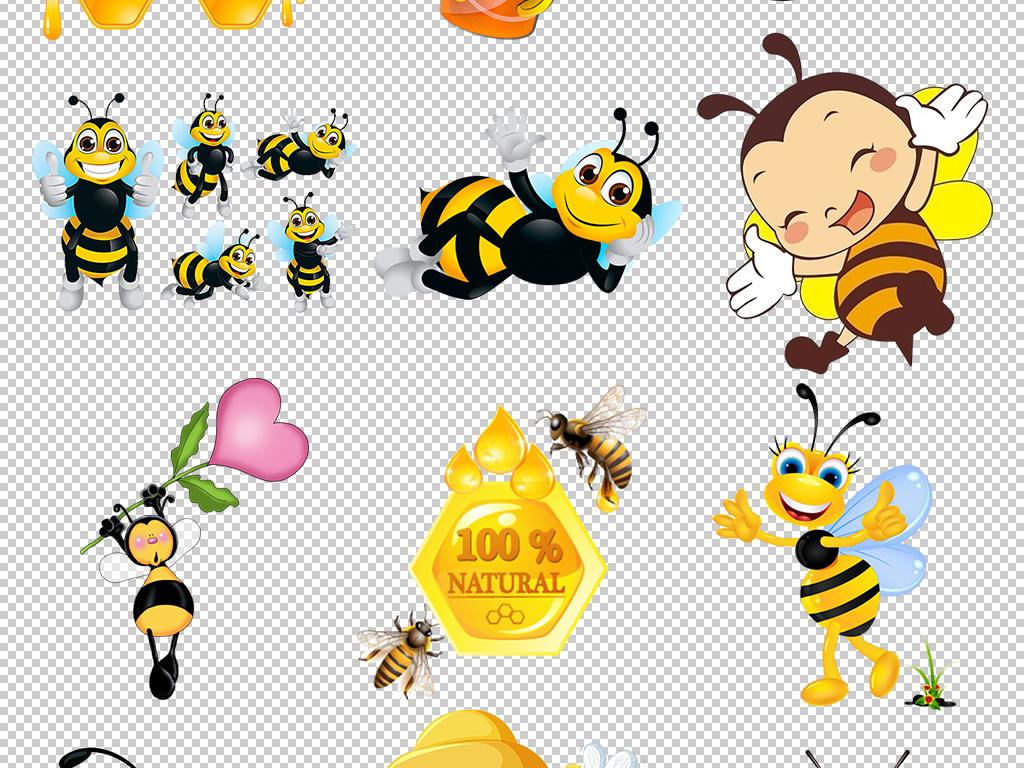 卡通可爱手绘小蜜蜂蜂蜜png设计图片