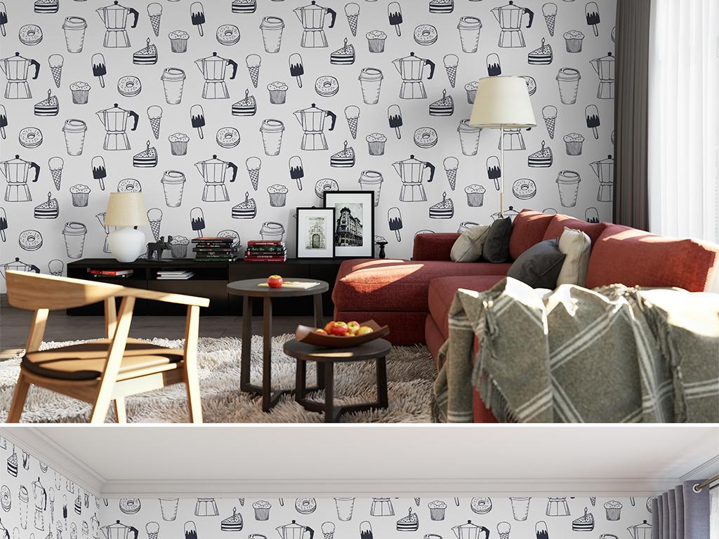 手绘简约黑白线条客厅卧室壁纸墙纸图案35