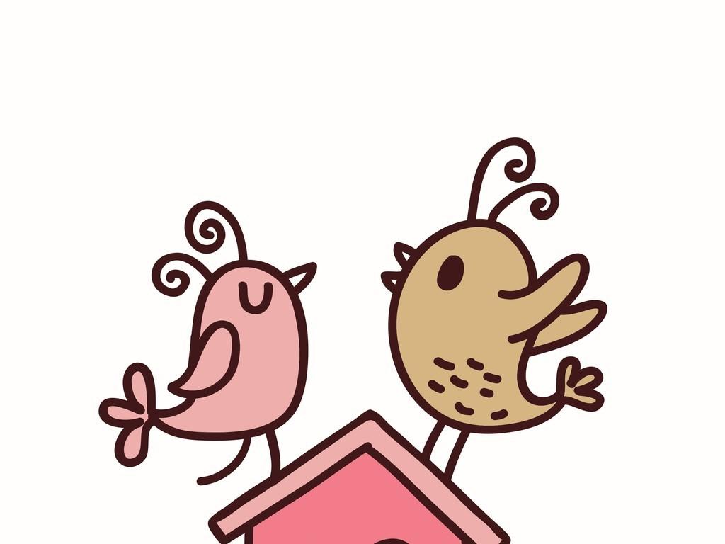 手绘卡通图案小鸟