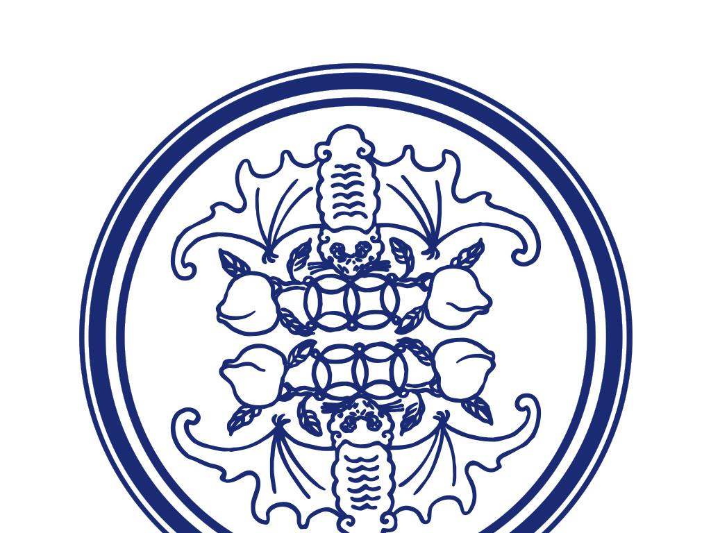 设计作品简介: 中国传统二福贺寿青花瓷如意圆盘 矢量图, cmyk格式