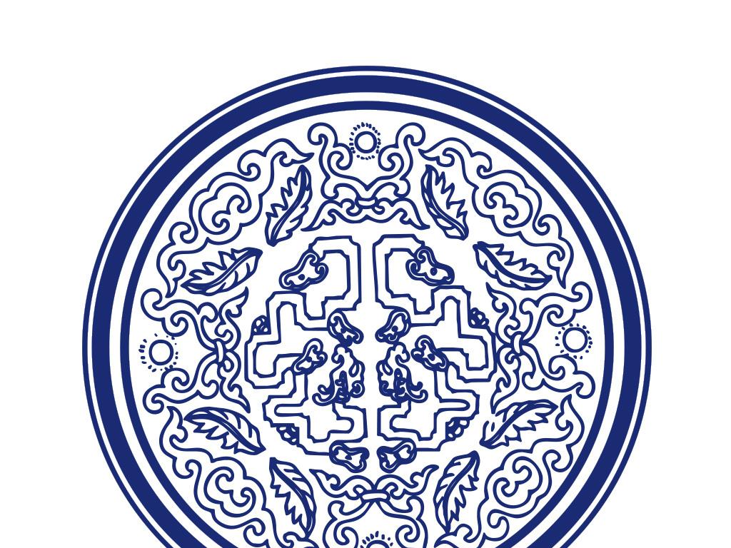 中国传统如意云纹青花瓷圆盘