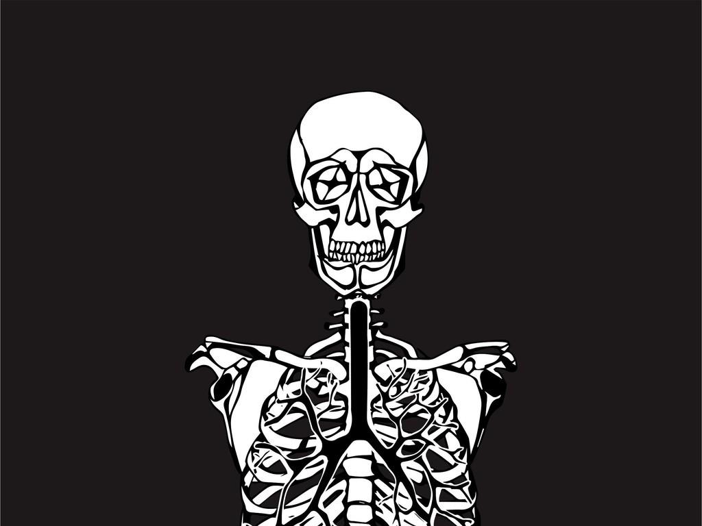 骷髅头人物潮牌t恤印花图案矢量图