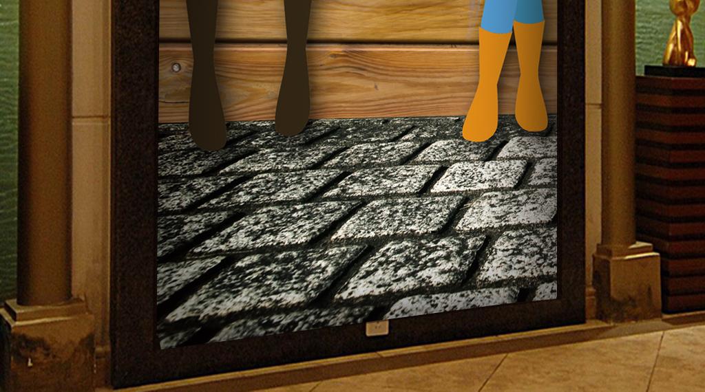 3D木纹背景服装店橱窗超市工装玄关