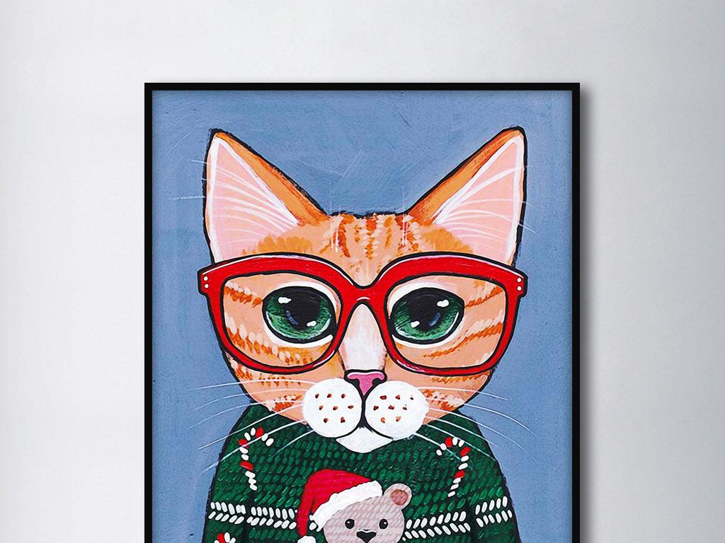 圣诞小人可爱猫手绘现代北欧家居装饰无框画