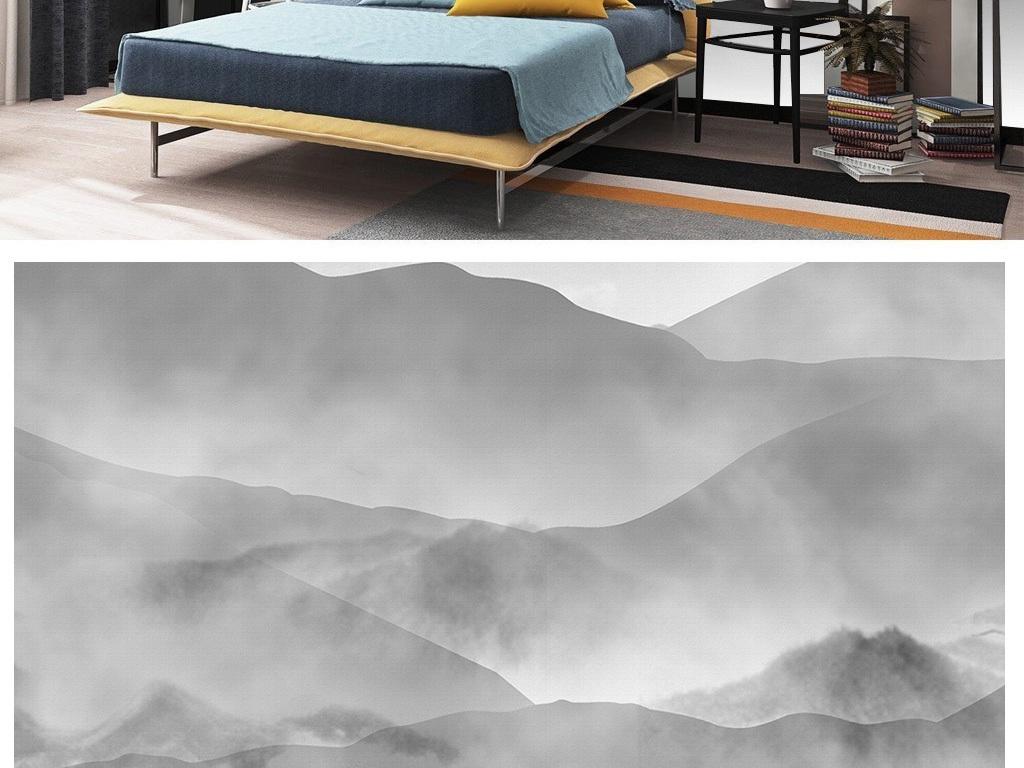 装饰画 电视背景墙 中式电视背景墙 > 新中式黑白灰山峰云雾缭绕风景