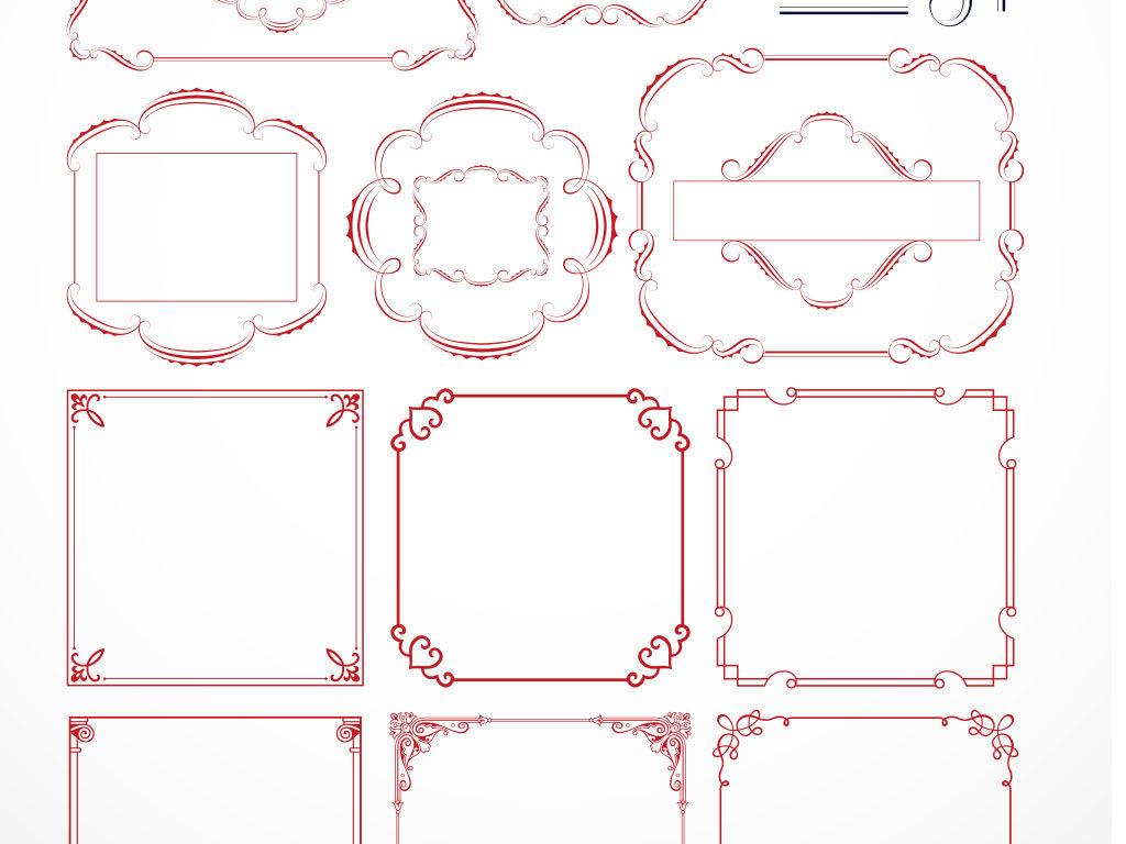 欧式边框图片素材线描花边简洁