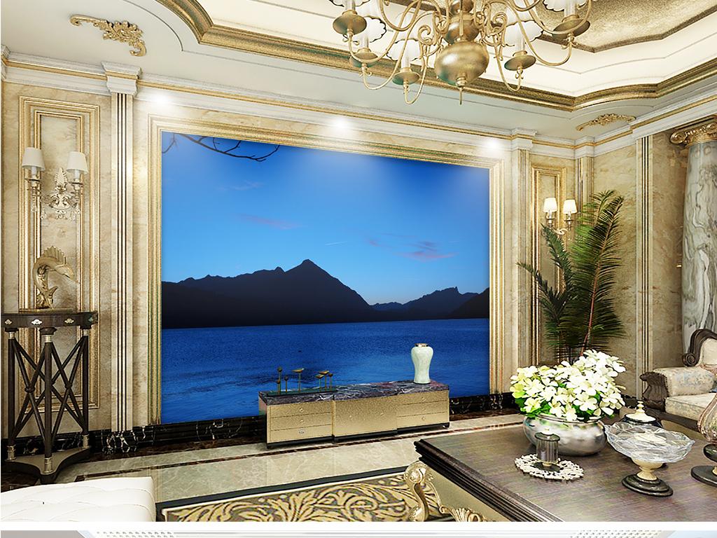 新中式美丽风景仙境电视背景墙