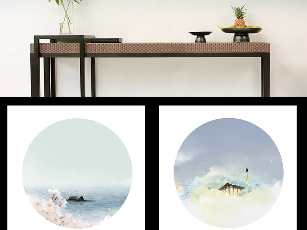 新中式现代水墨山水水彩现代简约抽象装饰画