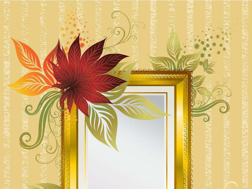 五款唯美线条花卉边框设计