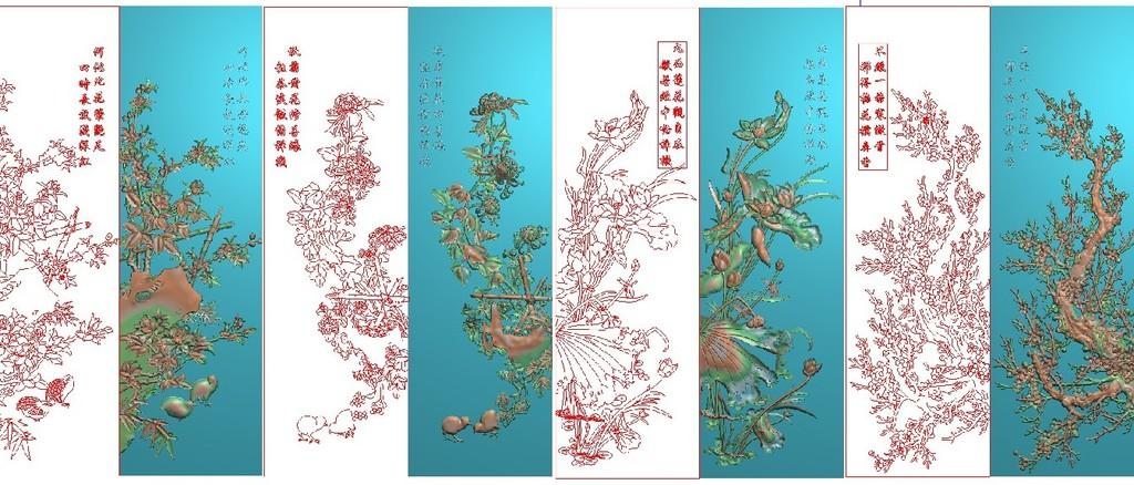 精雕图灰度图浮雕图电脑雕刻图四季花屏风jdp文件