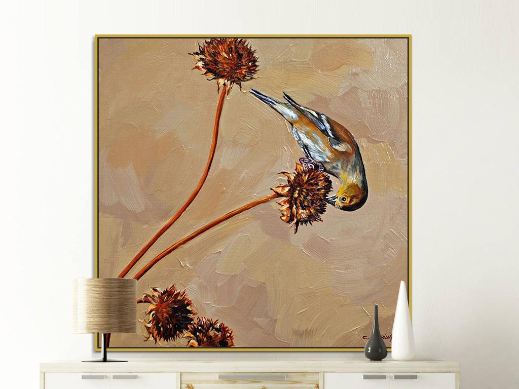 褐色背景小鸟觅食动物绘画装饰画