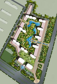 高档小区景观建筑规划PSD分层彩色平面图-鸟瞰图规划素材 鸟瞰图规