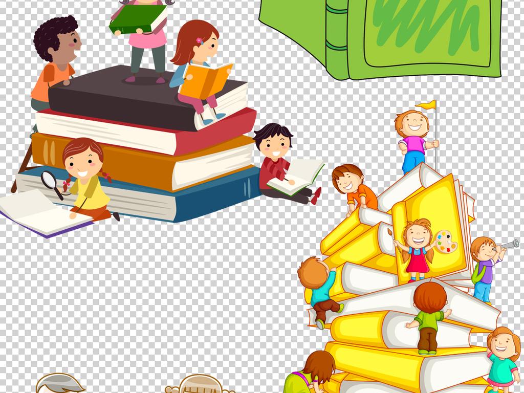 可爱卡通读书人物png透明背景素材