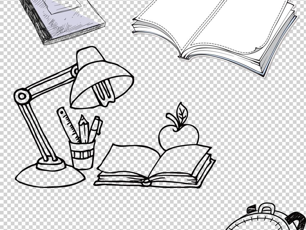 手绘书本png透明背景素材