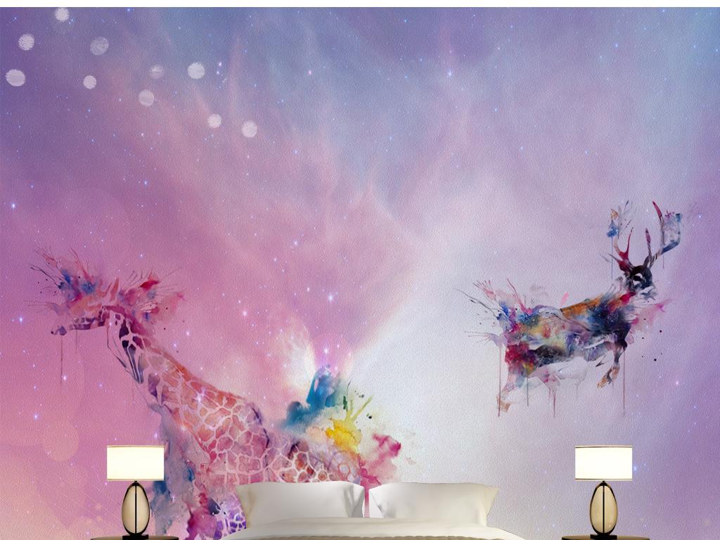 电视背景墙 手绘电视背景墙 > 复古怀旧星空唯美北欧麋鹿美式背景墙