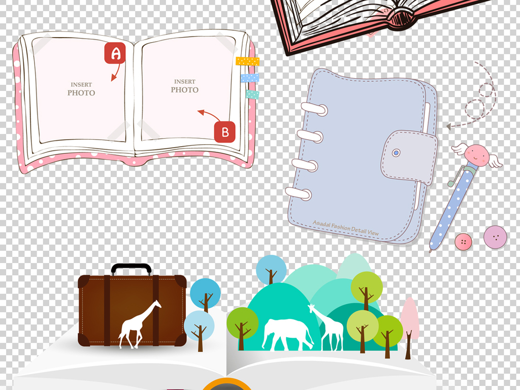 手绘卡通书本书籍png透明背景素材