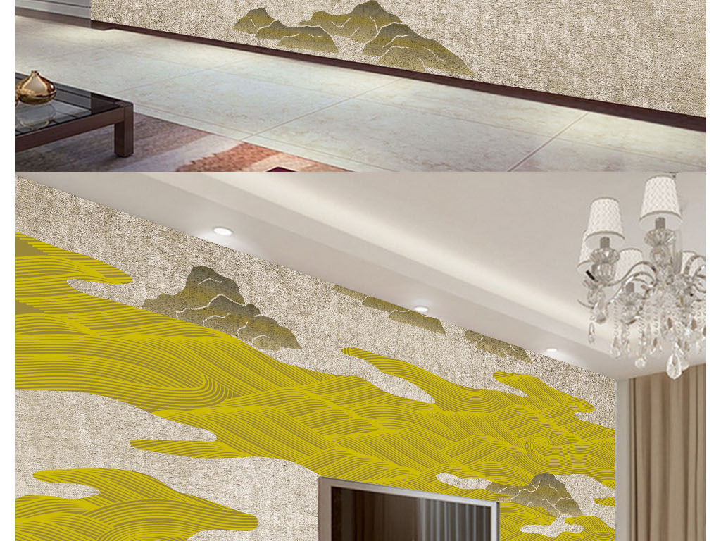 新中式抽象线条意境山水风景背景墙壁