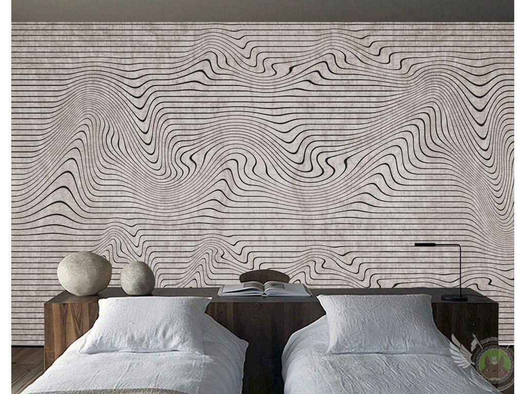 新中式抽象线条意境山水风景背景墙壁画