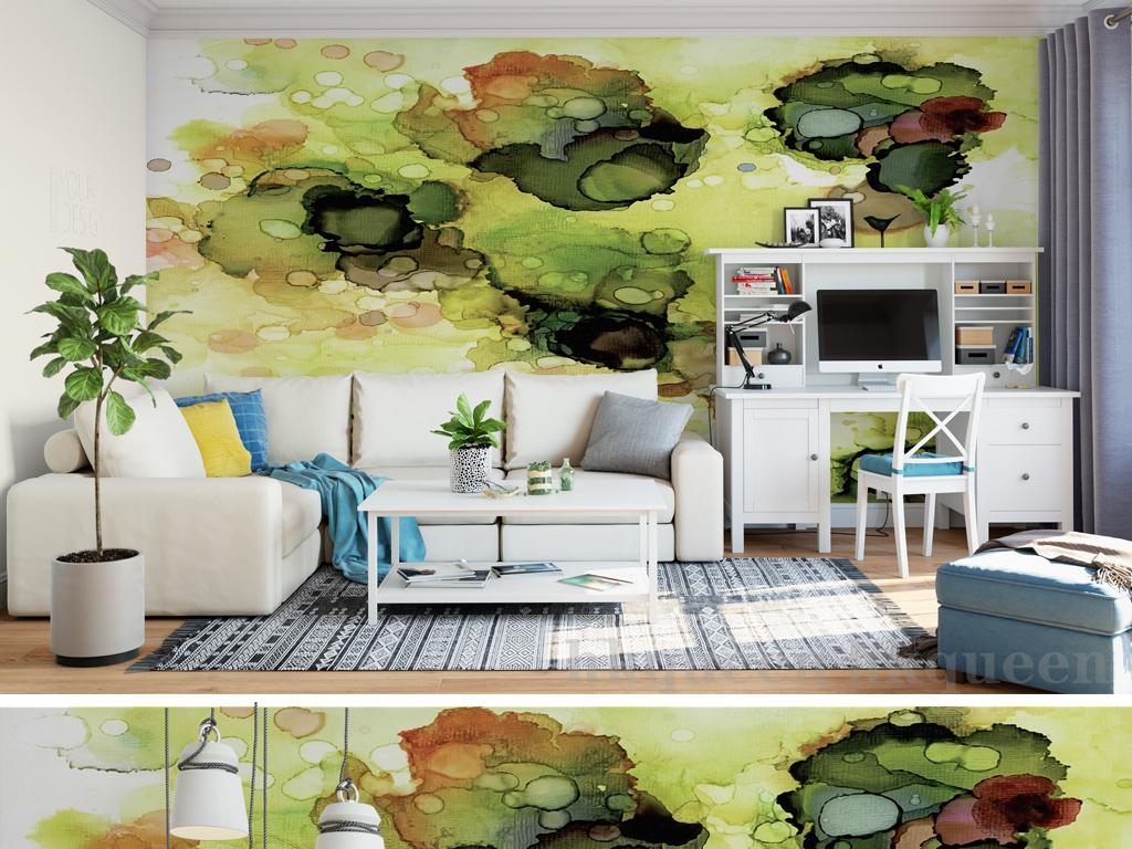 北欧时尚抽象图案水彩绘画油画壁画背景墙