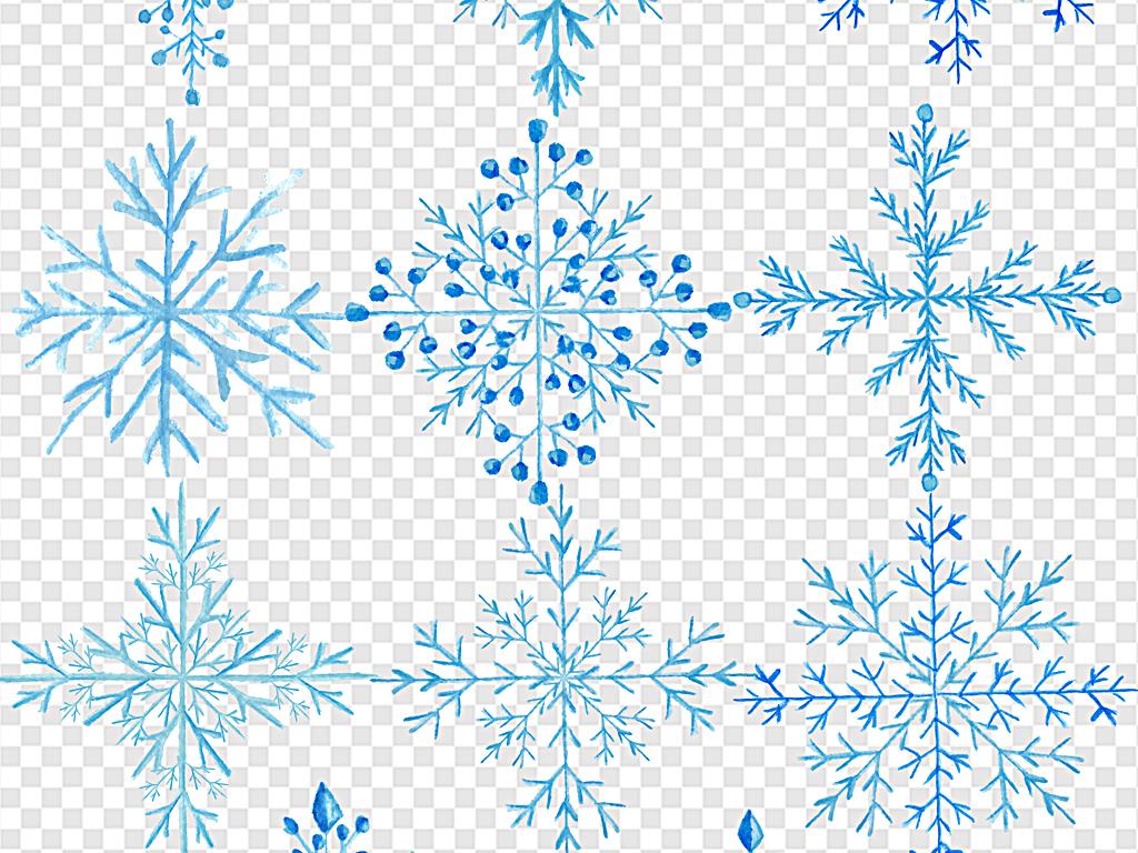 圣诞节雪花手绘雪花圣诞节素材