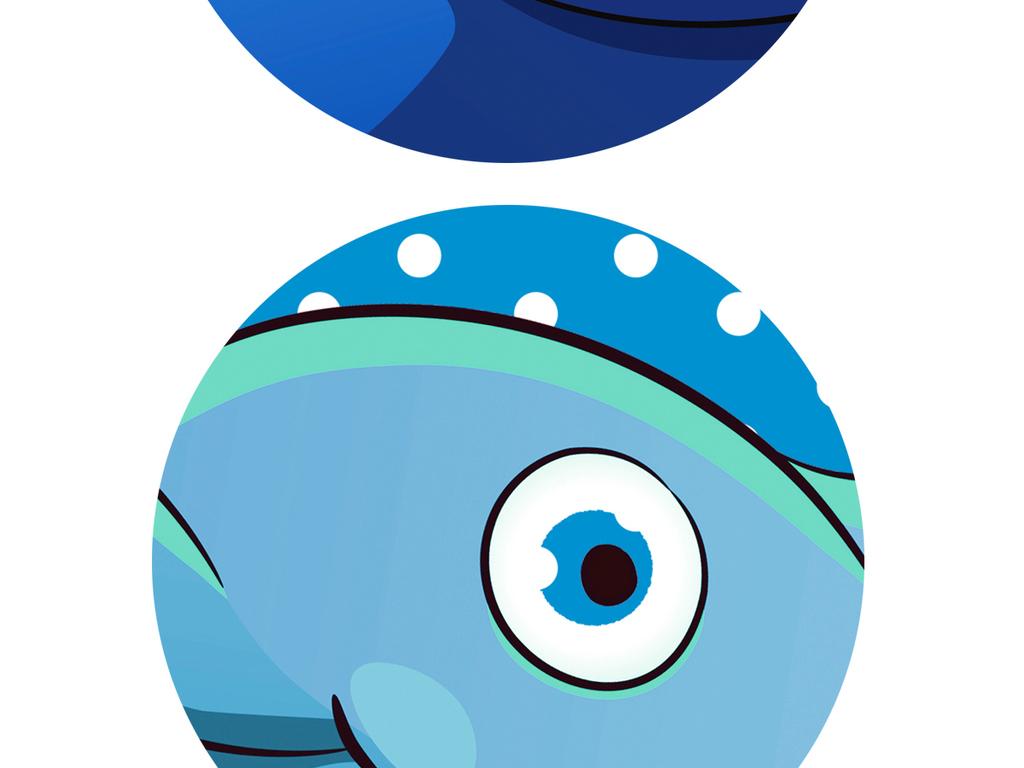 卡通手绘梦幻海底世界主题空间全屋背景墙