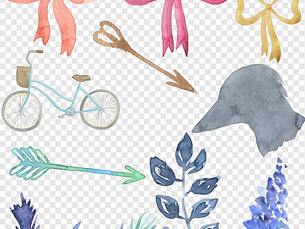 蓝色手绘叶子水彩叶子水彩花环