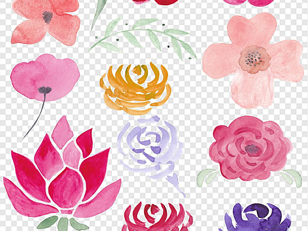 水彩花环墨迹水彩花朵手绘花朵红色花朵小花素材下载