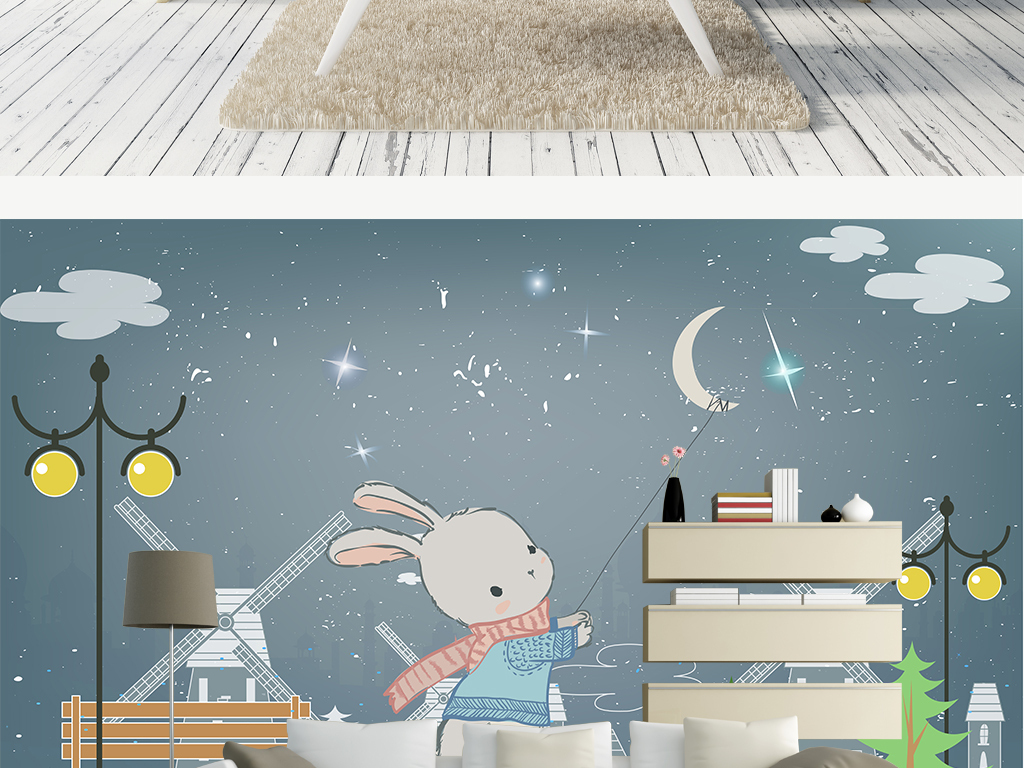 欧式手绘可爱抓月亮的小兔子儿童房背景墙