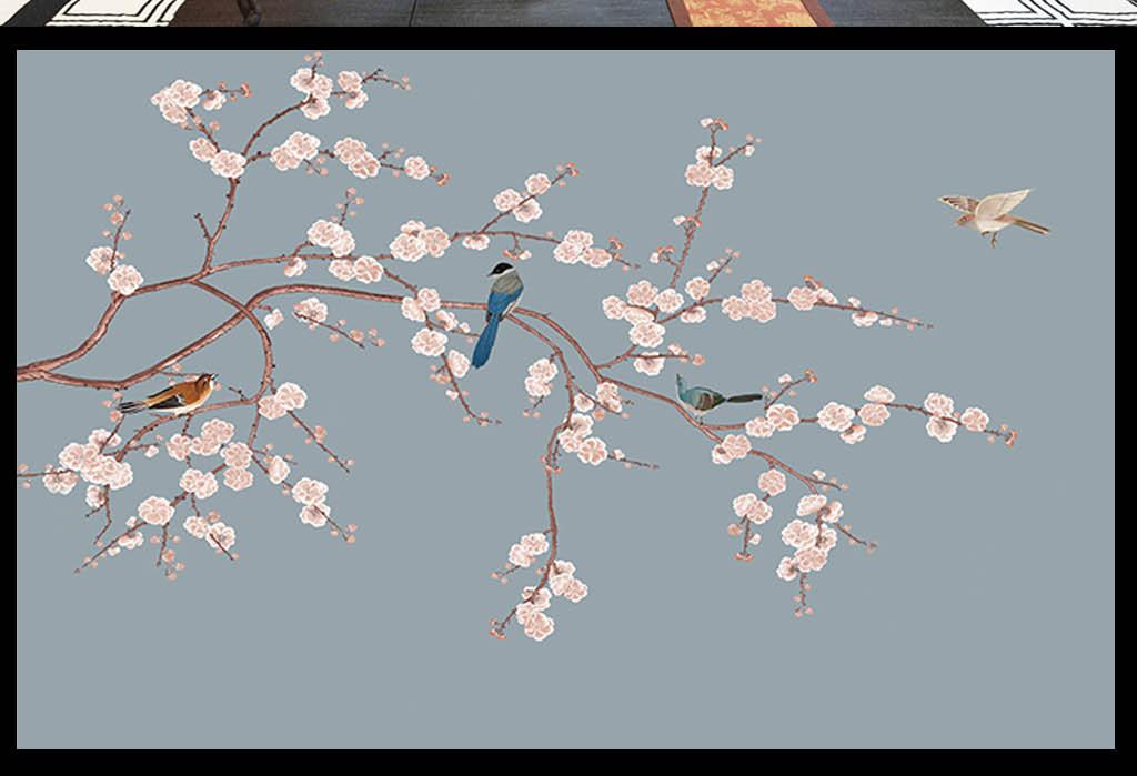 中式手绘花鸟背景墙图片