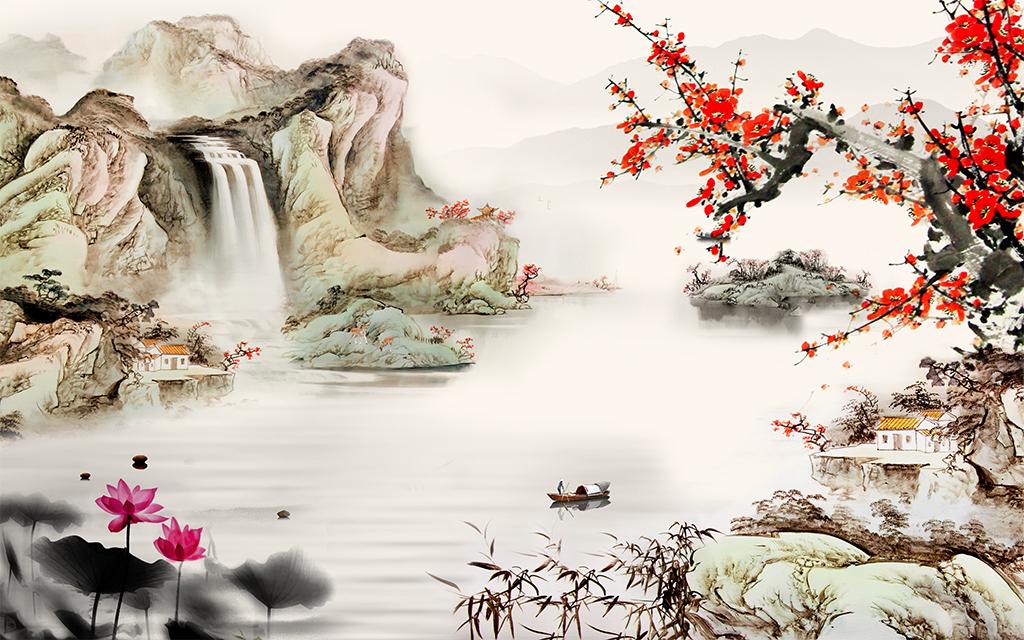 中式山水梅花影视背景墙图片