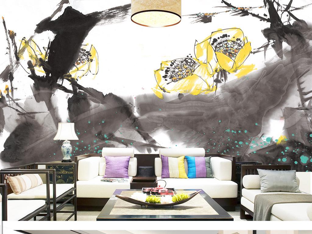 新中式抽象写意山水风景壁画