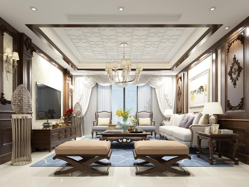 2017欧式客厅主播背景墙3d客厅效果图3d模型