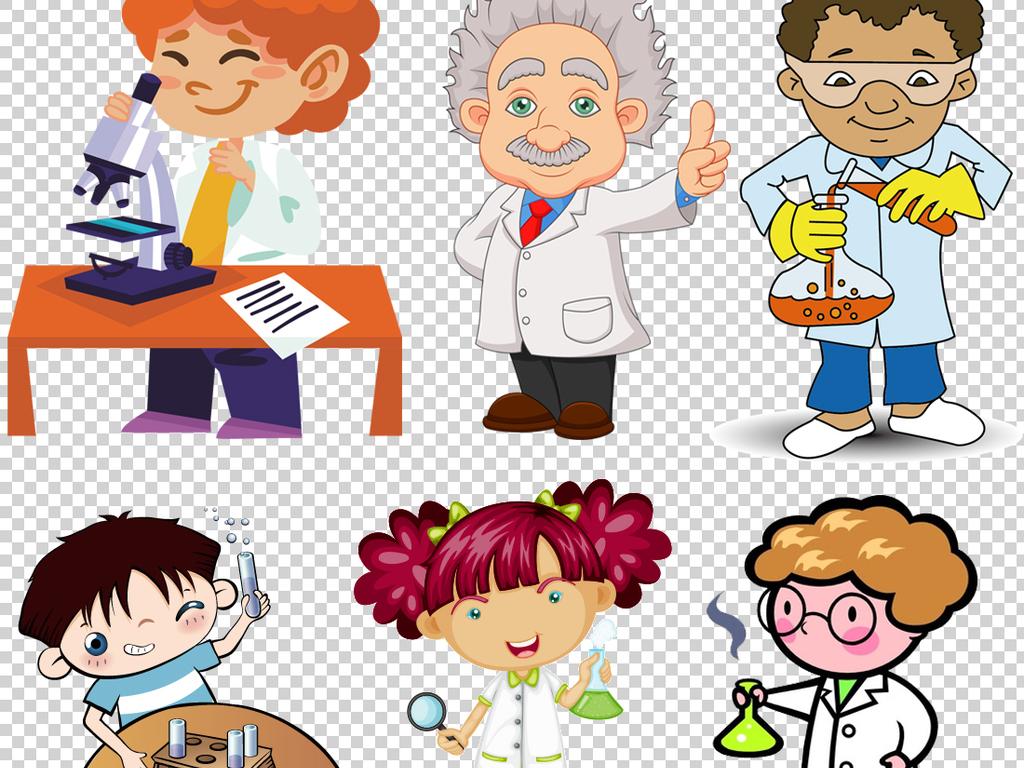 卡通化学人物教授人物实验人物科学透明背景化学实验人物素材人物背景