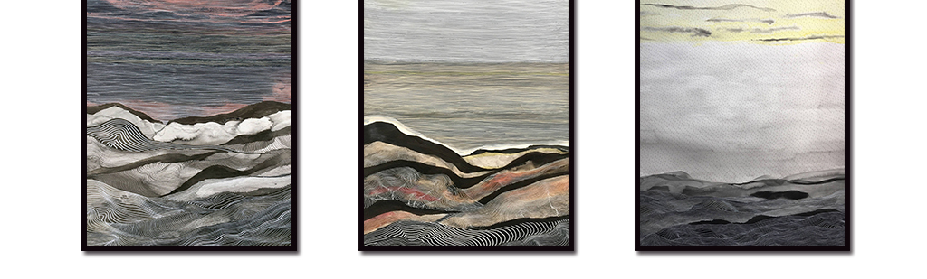 新中式抽象线条夜幕山水无框画装饰画