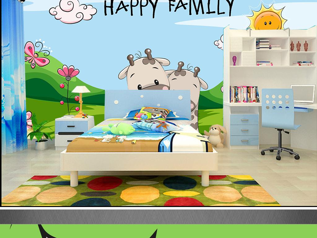清新手绘卡通长颈鹿动物儿童房幼儿园装饰画图片设计素材 高清psd模板下载 23.78MB 儿童房背景墙大全