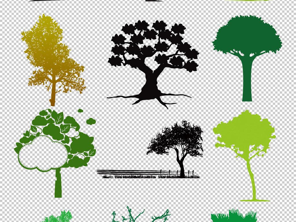 黑彩彩色手绘树木剪影免扣图片png
