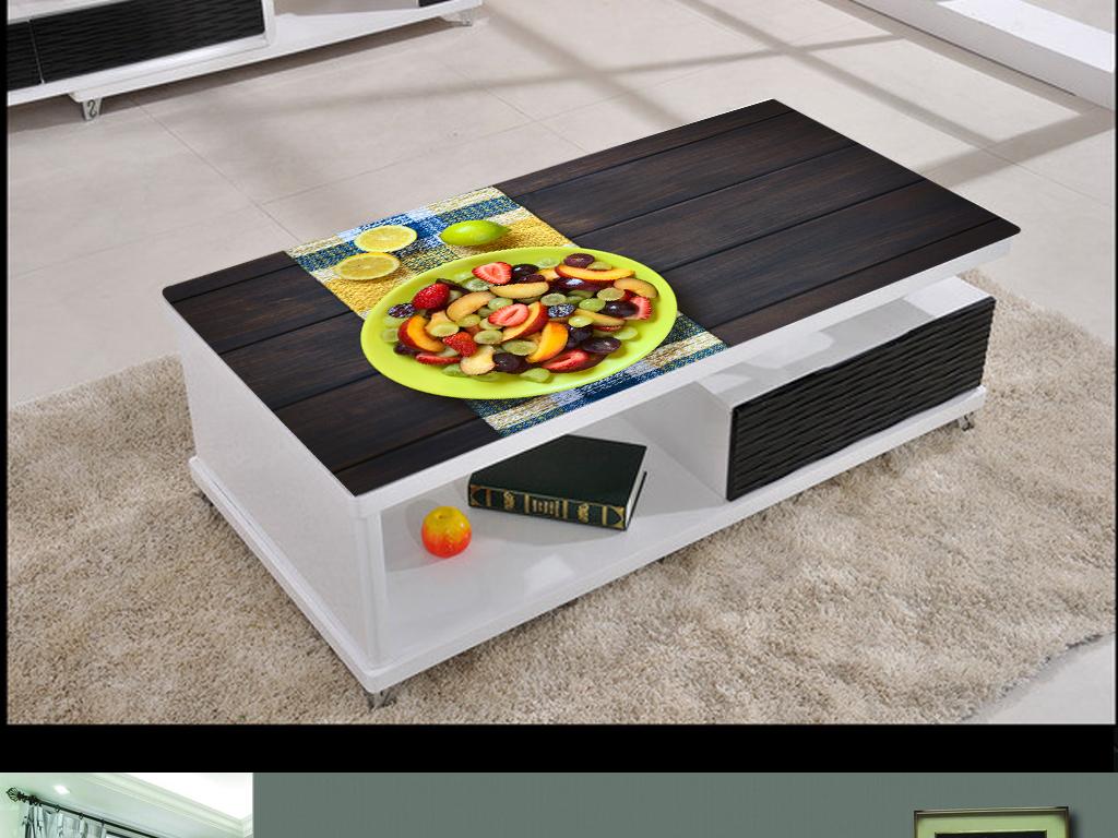 3D立体高清水果木板质感桌面背景壁画