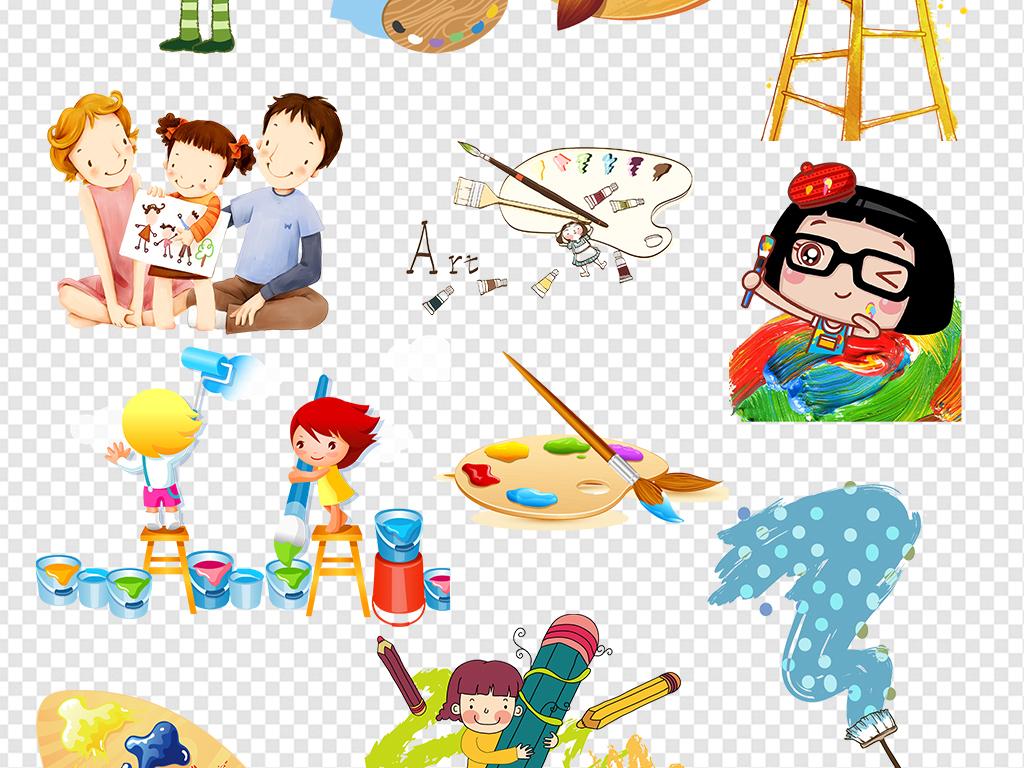卡通儿童画画美术设计素材