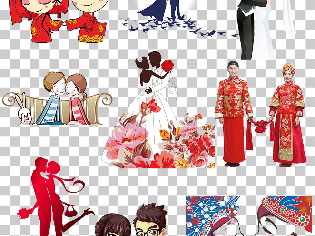 婚纱喜庆广告设计手绘中式传统婚礼海报图片素材浪漫