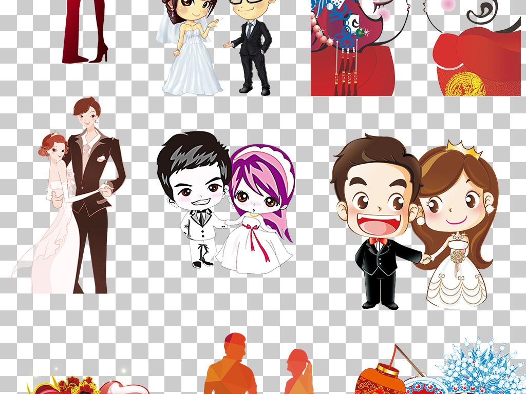 q版婚纱喜庆广告设计手绘中式传统婚礼海报图片素材