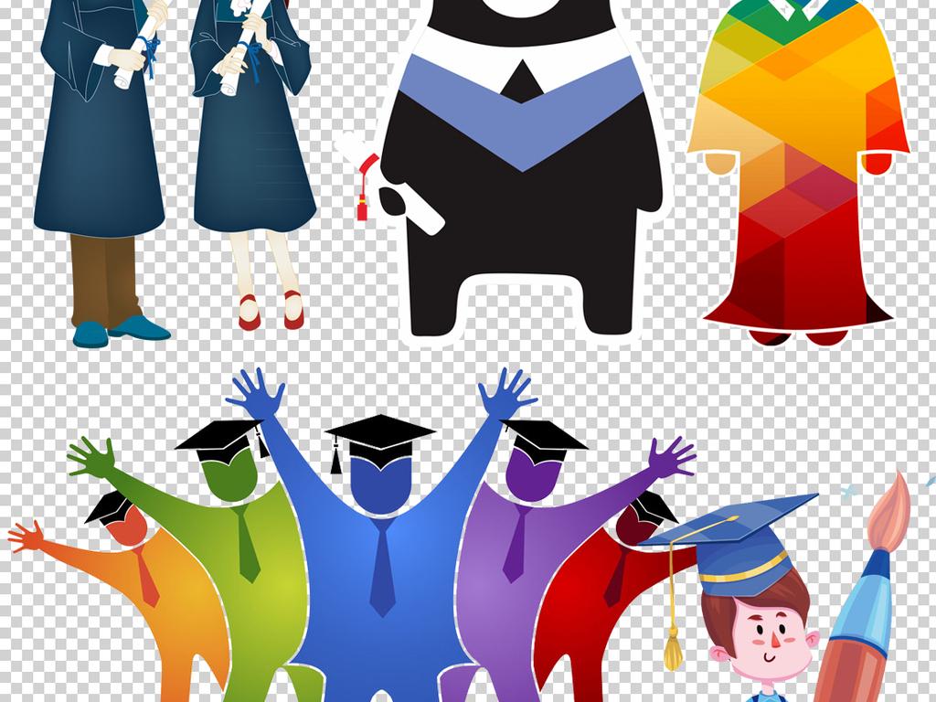 卡通博士人物博士帽png透明背景素材