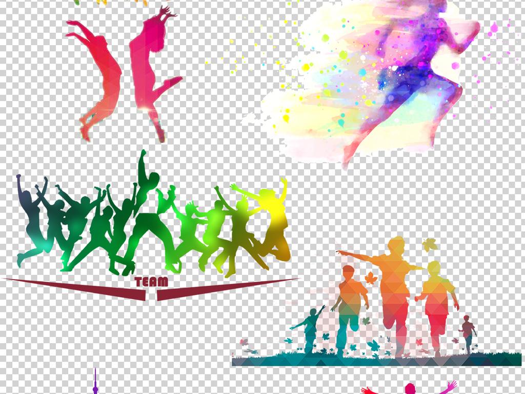 青春励志奔跑人物png透明背景素材