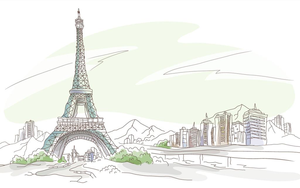 手绘漫画简约简洁巴黎铁塔优美风景挂画