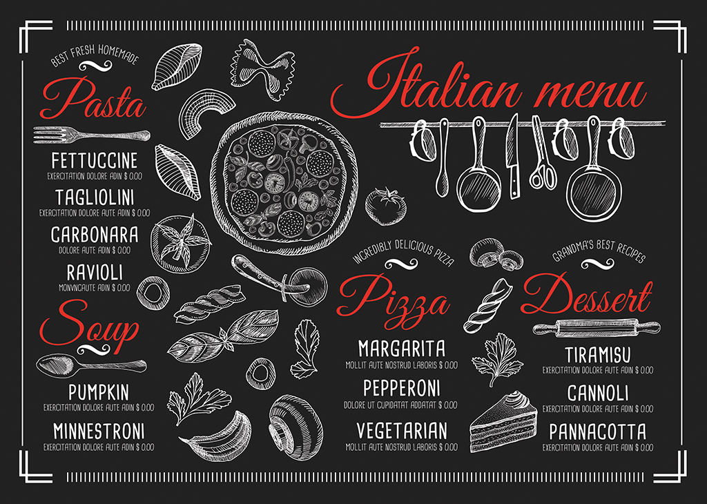 创意黑白手绘披萨快餐美食价目表psd模板