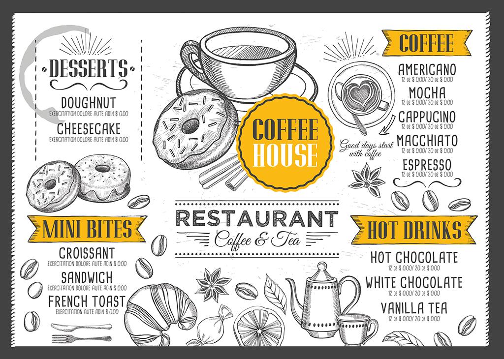 创意文艺手绘咖啡甜品下午茶菜单psd模板