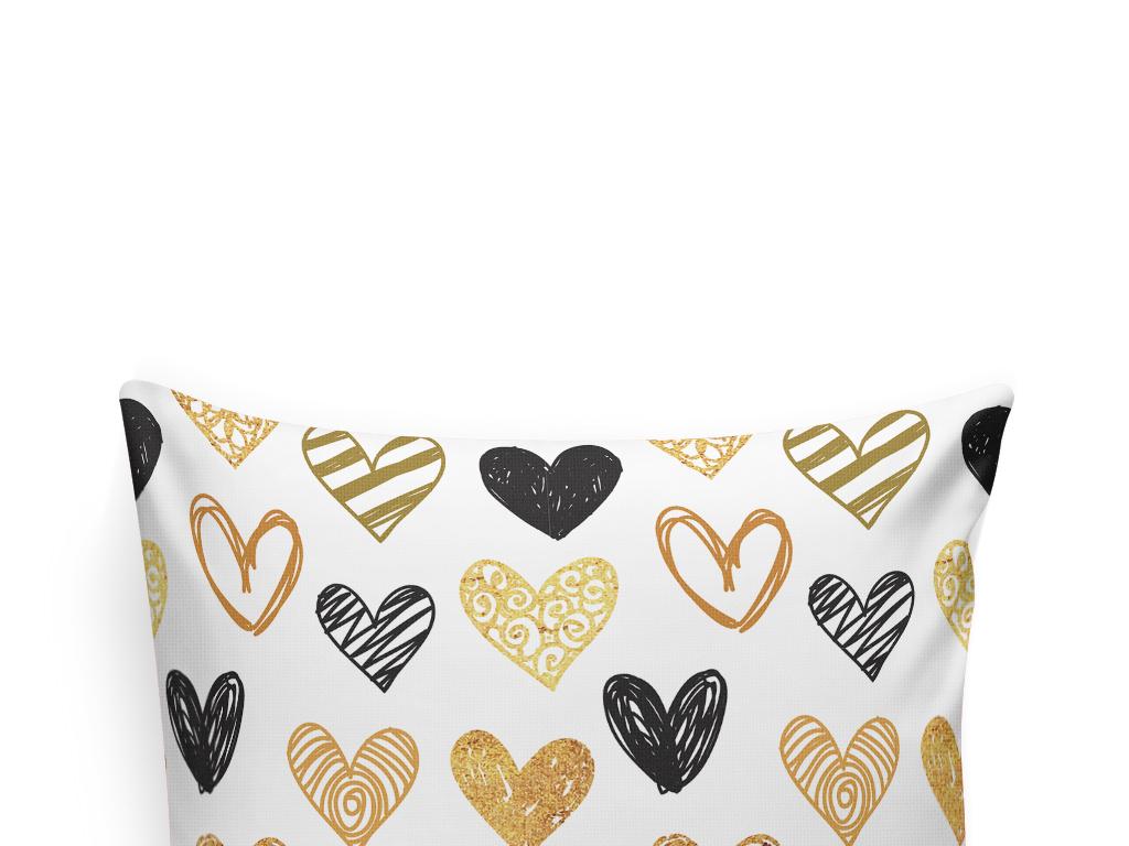 手绘心形北欧风抱枕图案设计