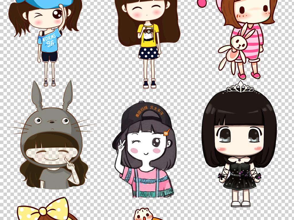 可爱卡通小女孩png透明背景素材